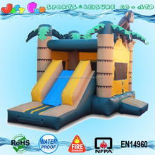 monkey n palm tree commercial bounce house with slide, jumping bouncer area and sliding part combo