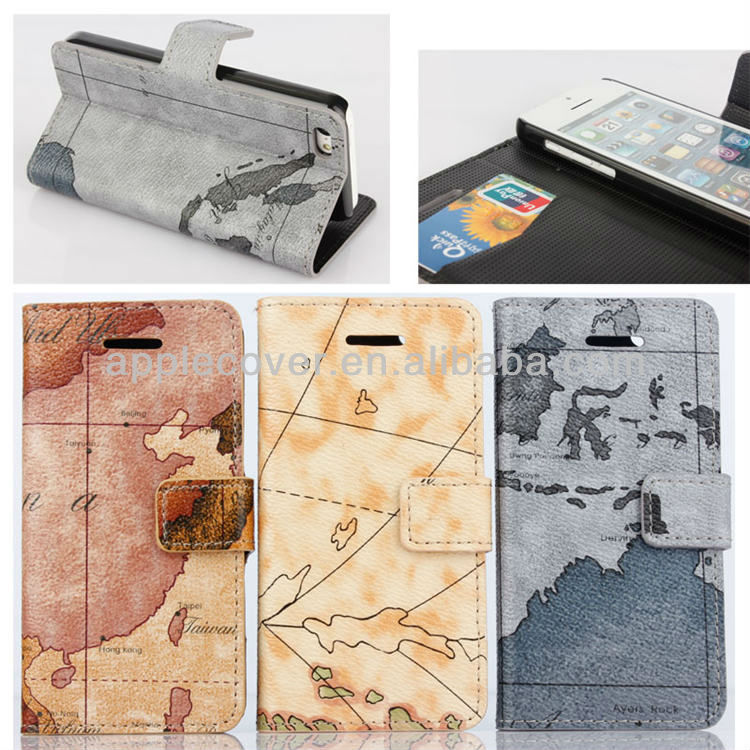 World map leather wallet flip case for iphone 5c with credit card slot