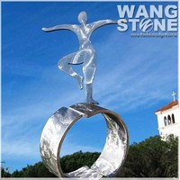 Metal Figure Garden Stainless Steel Girl Dance Art Statue