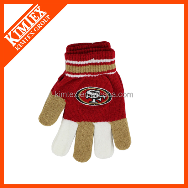 Custom winter gloves acrylic knit embroidered gloves