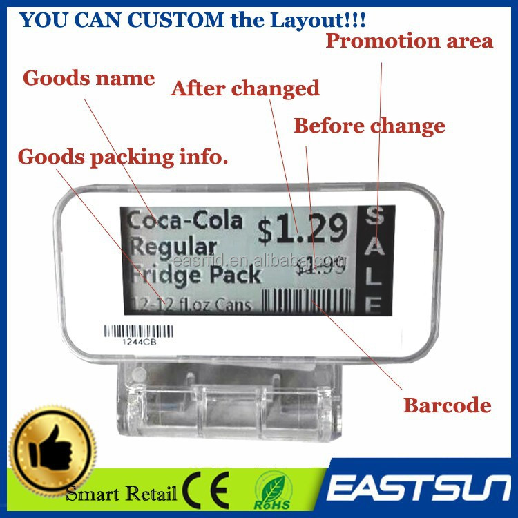 Professional custom electronic price display retail Store shelf labels