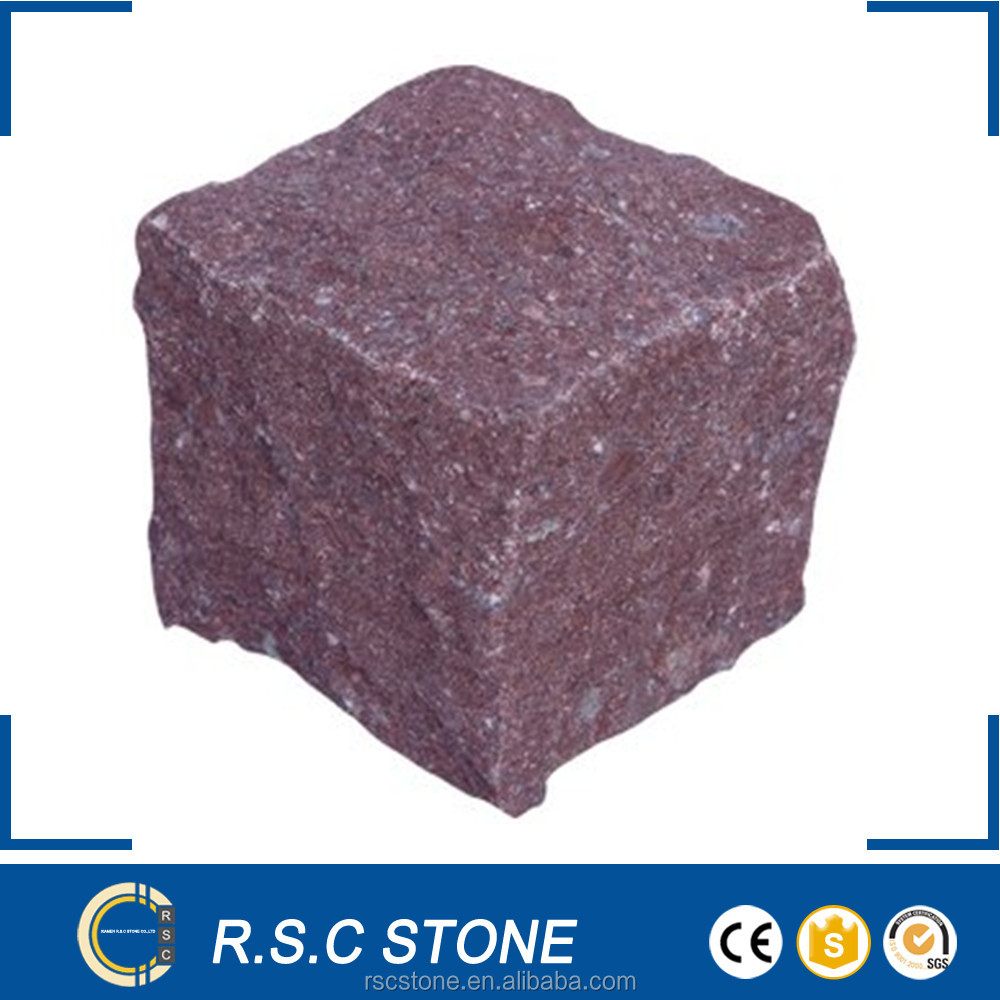 G666 red paving stone cube stone