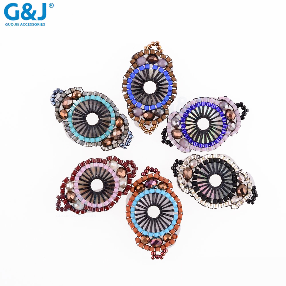 guojie brand wholesale new design decorative colorful oval acrylic beads pendant