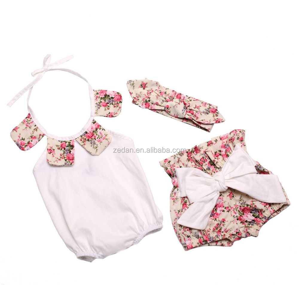 Floral rose rompers cheap china wholesale clothing sets bows icing shorts newborn baby outfits