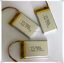 3.7v li-ion battery pack rechargeable polymer battery 750mah