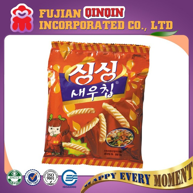 13g healthy barbecue flavored snack prawn strips export to Korea market