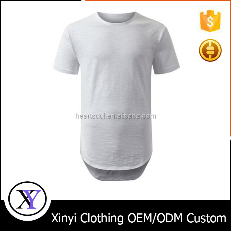 New Style custom print logo 100%cotton round hem o-neck men printing longline t shirt