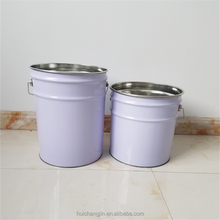20L empty iron pail/drum for paint, latex paint with flower lid and handle