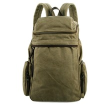 9016C Fashion Army Green Laptop Bag Fancy Original Canvas Backpack For Men