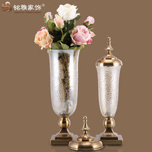 european style glass body with metal lid and stand mosaic vases for sale