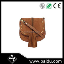 brown col goat suede leather bag
