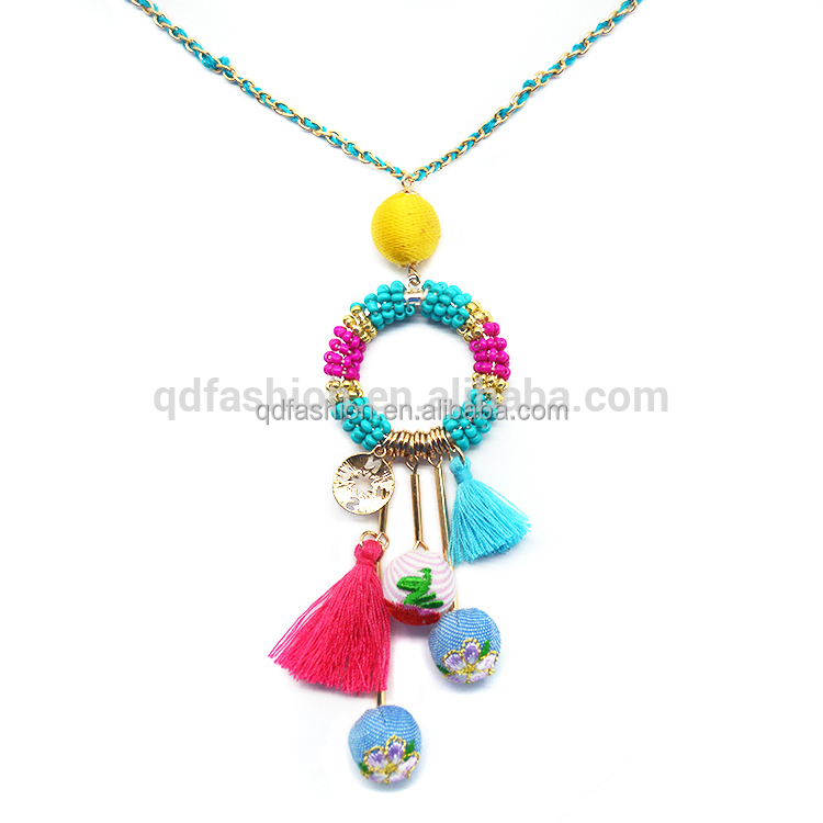 Embroidery cloth balls pellet compass rose flower Bohemia style bead necklace designs long chain