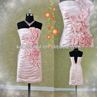 Short pink soft satin wedding dresses /bridal gown /prom dresses with a jacket