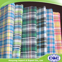 wholesale recycled cotton check fabric for men wear