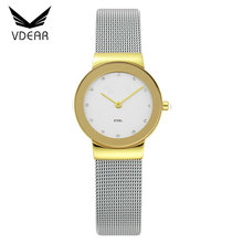 Water resistant stainless steel back watches 3 bar lady hand watch diamond quartz watch