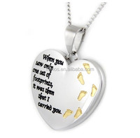 Heart Shaped Footprints Prayer Pendant With Gold Colored Footprints - Heart Necklace - 12 Step Gifts
