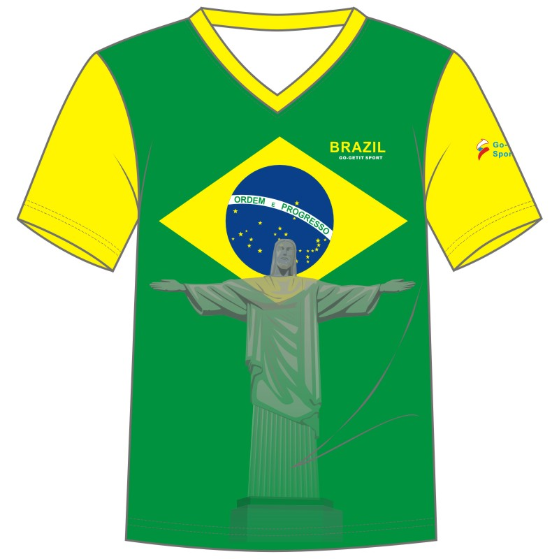 MEN'S/WOMEN'S National Sports Teams T-shirt Brazil 2016 Summer Games Jersey