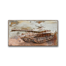 Rustic Vintage Outdoor Wall Art 3D Tank Painting on Iron