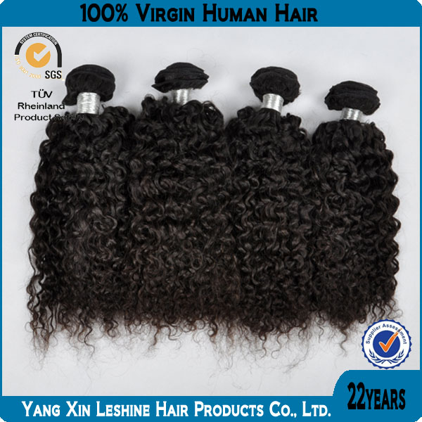 2014 Hot Selling Full Cuticle Double Weft Premium Yaki Human Hair Curly Weave