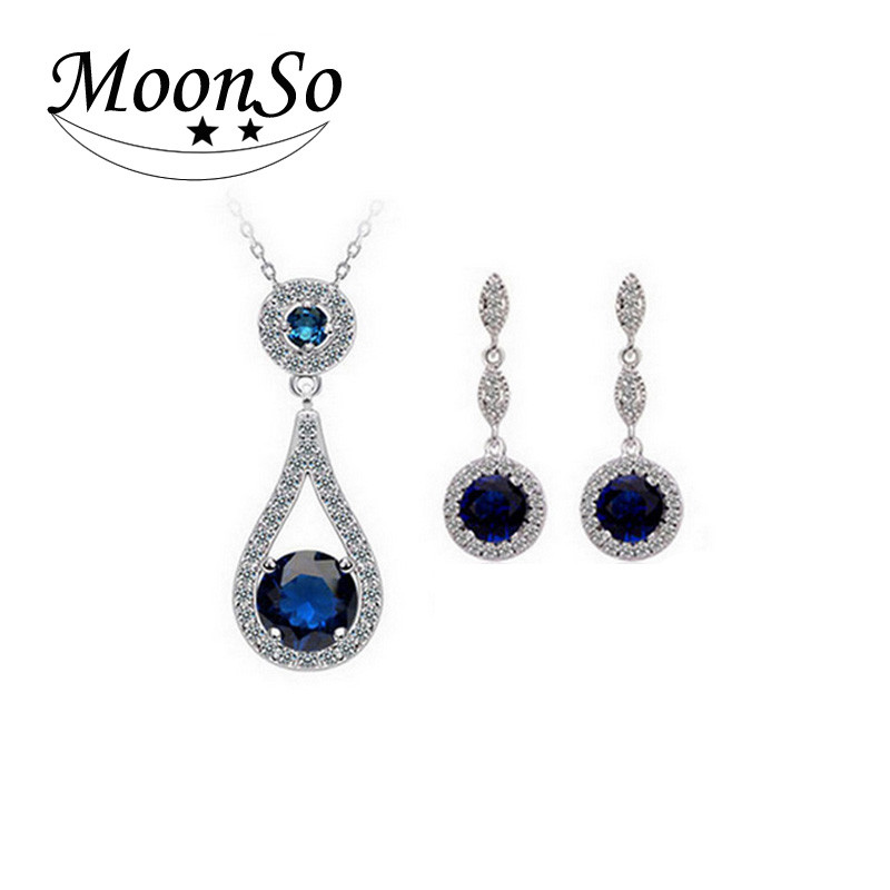 MOONSO sapphaire jewelry set four color white/blue /red/green silver jewelry set KJ646S