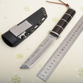 59HRC Damascus Steel Knife Tactical Saber Knives wityh K Sheath Jungle Tools Dropshipping 2896