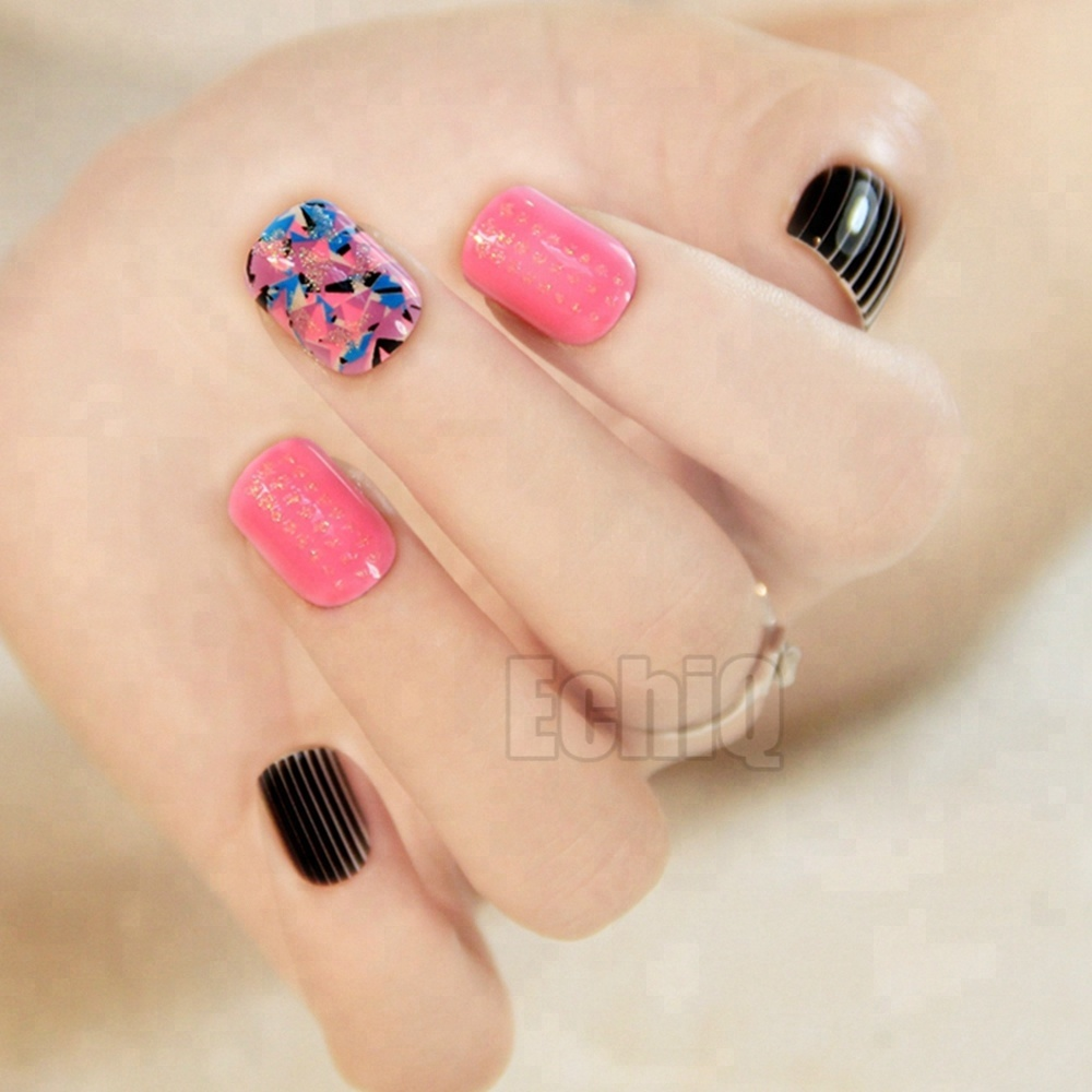 Wholesale Pink Nail Designs Online Buy Best From Art Black Beautiful Strongdesigned Strong False Strongnails