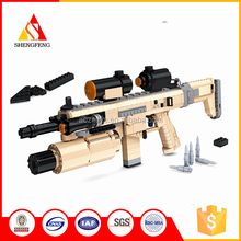 Childrens educational plastic building block toy police gun set