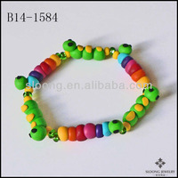 Garden Bugs Insect Jewelry Eco-friendly Rainbow Caterpillar Bracelet Green Inchworm Polymer Clay Beaded Bracelet