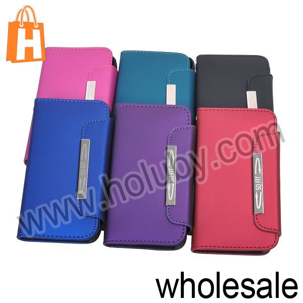 Special Design Magnetic Cover Flip Leather Case for iPhone 4S 4 with Lanyard+Card Holder (6 Colors Optional)