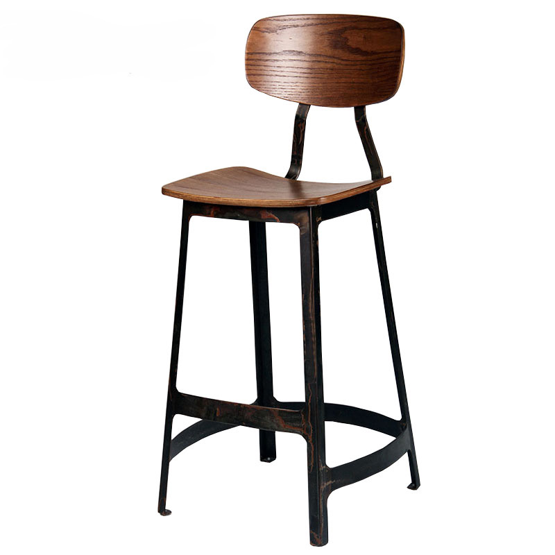 Triumph Vintage Industrial High Bar stool / plywood metal bar chair cafe used / Antique Yardbird chair&stool
