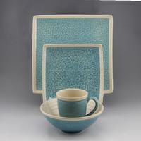 Sky blue ceramic dinner set square 16 PCS stoneware tableware