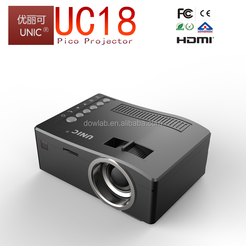 2015 Newest UNIC UC18 pico projector with battery led mini pocket projector