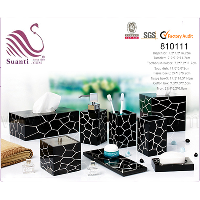 Hot sale luxury black soap dispenser bathroom set