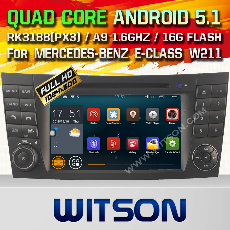 WITSON Android 5.1 Car DVD GPS For MERCEDES-BENZ E-CLASS W211 2002-2008 with Quad Core Rockchip 3188 1080P 16g ROM WiFi DVR
