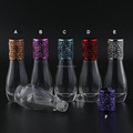 Luxury Empty Bowling Shaped 12ML Clear Glass Roll On Bottle with Metal Cap , Roller Ball Bottle with stainless steel ball