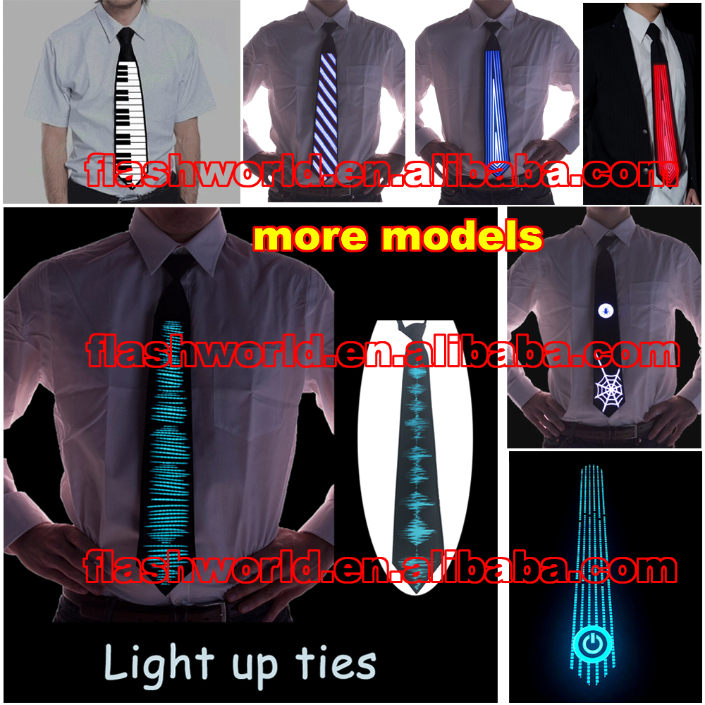 led el light up sound activated equalizer tie luminous glowing flashing Christmas Halloween New Year Gift