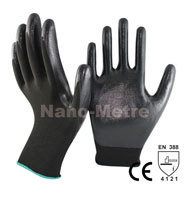 NMSAFETY 13 gauge black nitrile palm oil resistant safety mechanics working gloves