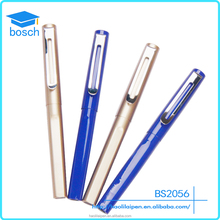 Retro blue and gold smooth writing gel ink pen cheap logo metal aluminium pen
