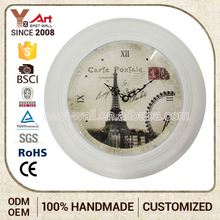 Top Sales Popular Design French Country Tuscan Style Vintage Metal Wall Plastic Clock Dome