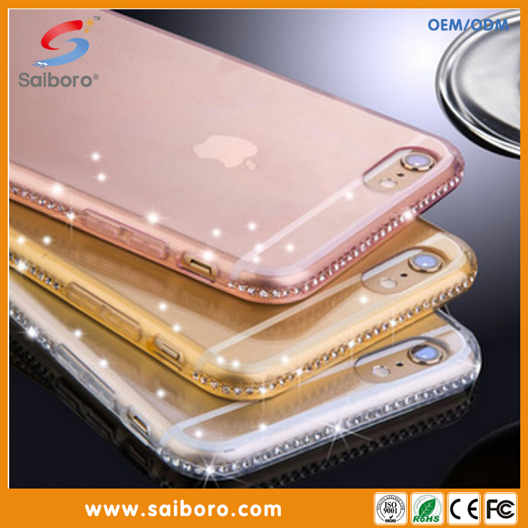 Ultra thin clean soft tpu crystal mobile phone cover for apple iPhone 6 plus 6s plus cover case