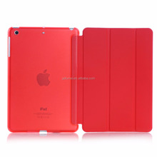 Ultra slim colorful semi-transperant solid PC plastic flip PU leather case cover for ipad 6