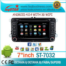Android 4.0.4 Car GPS Manufacture for Skoda 7 inch with gps 3g wifi