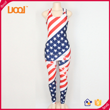 Cheap price flag printed casual women suit woman h&m pants sexy ladies tank top