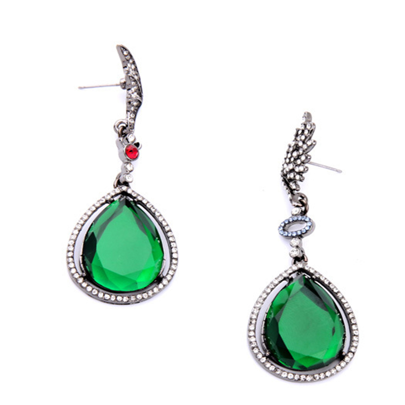 New Fashion Silver Plated Luxury Bridals Crystal Earring Green Main Color For Women Luxury Austrian Crystal Water Drop Earrings