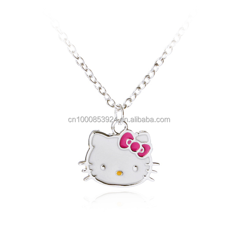 Cute Hello Kitty Pendant Necklace For Girls Colorful Enamel Cat Head Pendant Necklace For Kids Gift