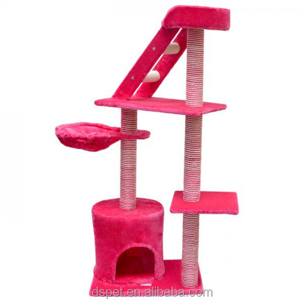 Dspet Cat Tree Scratching Post Condo Tower Hamock with staris Pink Pet Products Cat toy