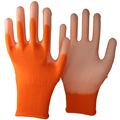 NMSAFETY 13 gauge knitted orange polyester liner coated white pu on palm gloves for light industry