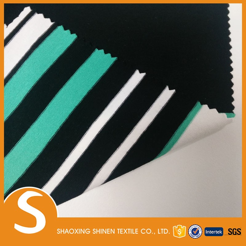 60% Rayon 35% polyester 5% spandex soft jersey stripe knit textile fabric