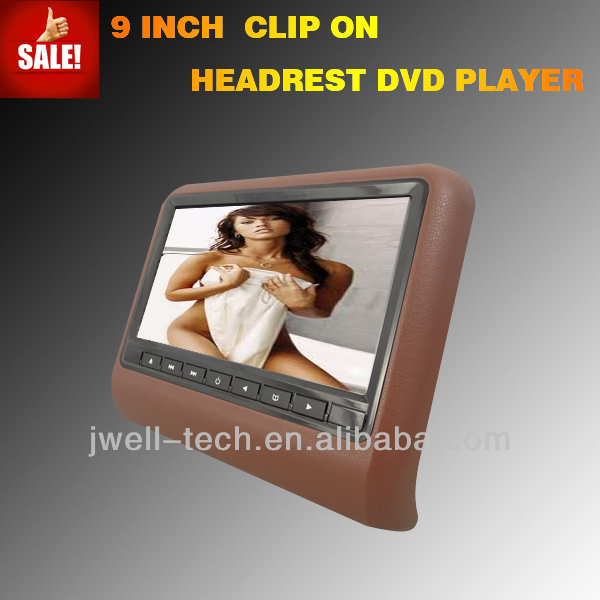 9 inch headrest monitor with MP3/WMA/JPEG/game joystick IR FM USB SD for a6
