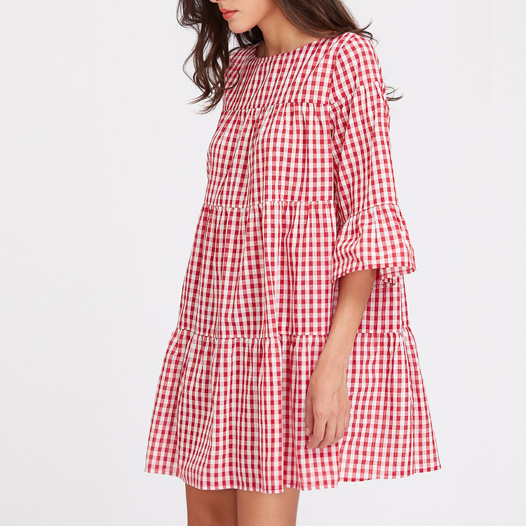 Clothing Manufacture Ladies 3/4 Sleeve Tiered Gingham Tent Dress for Juniors